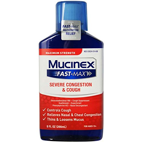 Congestion and Cough Liquid, Mucinex Fast-Max Severe Congestion and Cough Liquid, 9 fl.oz, Fast Acting Maximum Strength Formula Relieves Nasal & Chest Congestion, Controls Cough, Thins & Loosens Mucus