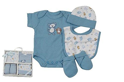 KING BEAR Kit de naissance 4 pièces comprenant 1 body manche courte, 1 bonnet, 1 bavoir,1 paire de moufle, 100% coton. Taille 0-3 mois