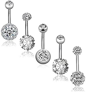 5pcs Stainless Steel Belly Button Rings for Women Girls Navel Rings CZ Body Piercing