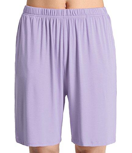 Latuza Women's Soft Sleep Pajama Shorts L Purple A