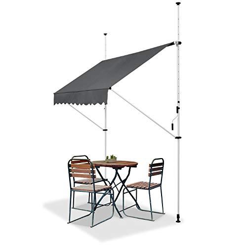 ArtLife Klemmmarkise Kuwait 200 x 120 cm – höhenverstellbar - Markise mit Handkurbel - ohne Bohren - Balkonmarkise Sonnenschutz Balkon - Grau