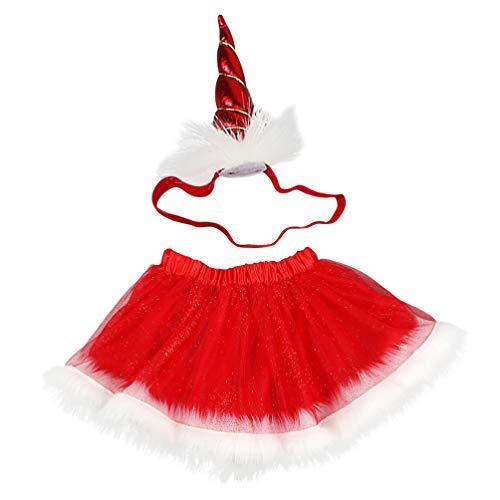 VALICLUD Accesorios de Disfraz de Unicornio Bebé Falda Tutú de Navidad Diadema de Unicornio Vestido de Tutú de Navidad Traje para Las Vacaciones de Navidad Suministros de Vestir