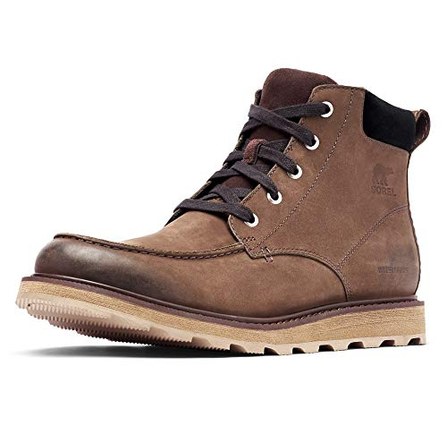 Sorel Men's Madson Moc Toe Waterproof Boots, Bruno/Black, 8 Medium US