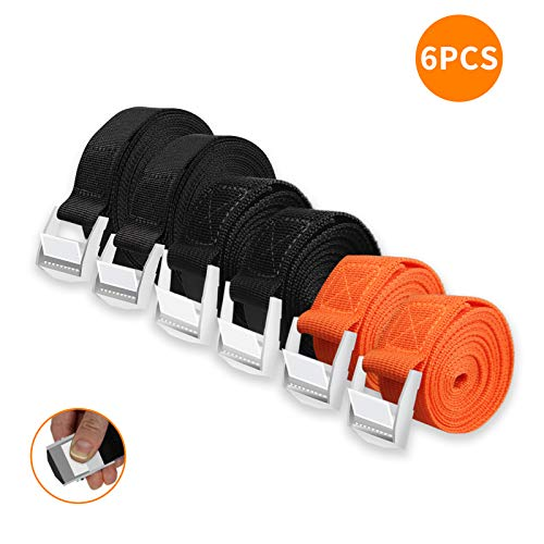 Karanice 6pc Spanngurte Zurrgurte Set mit Klemmschloss 2 * 2m 2 * 3m 2 * 5m Schwarz Orange robuste für Gepäck bewegender Campingwagen Fahrrad