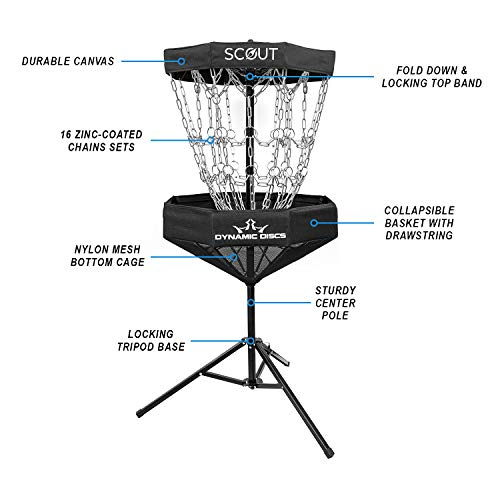 Dynamic Discs Scout Portable Disc Golf Basket | 8 Outer Chains, 8 Inner Chains, 2 Cross Sectional Chains Disc Golf Target | Foldable Frisbee Golf Target for Easy Mobility