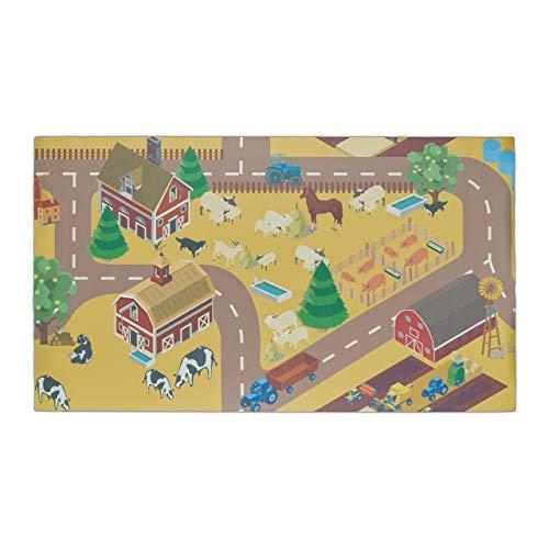 Relaxdays 10032677_469 Tapis de Jeu, Ferme, sans substances nocives, pour Enfants, Lavable, antidérapant, PVC, 140 x 80 cm, coloré, Polychlorure de Vinyle, Marron, 1 élément