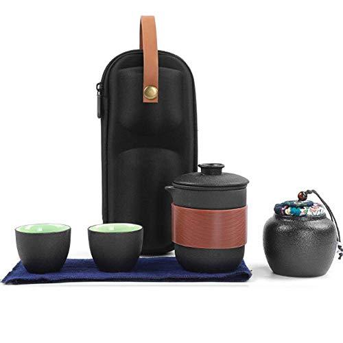 DGHJK Chinesische Teesets, Kung Fu-Teeservice für 2-Personen-Home-Office-Reisen mit tragbarem Aufbewahrungsbeutel Teekanne Teetassen
