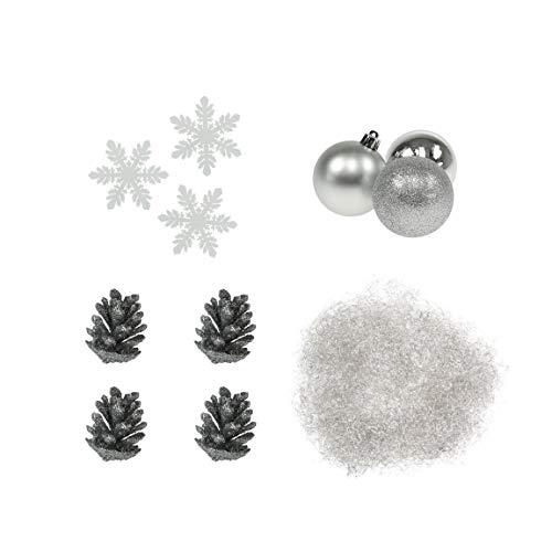 TürkisTick Winter Set Weihnachten, Deko Zubehör - Kugeln Tannenzapfen Lametta Schneeflocken Silber weiß - Variante 5