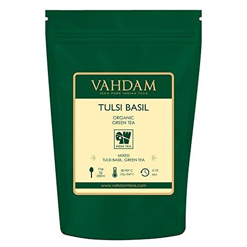 VAHDAM, Tè Verde Indiano Tulsi, 200g (100 tazze) | Miscela Disintossicante Squisita di foglie di thè verde in foglie di basilico fresco | UN POTENTE ANTIOSSIDANTE | Green Tea dall'India