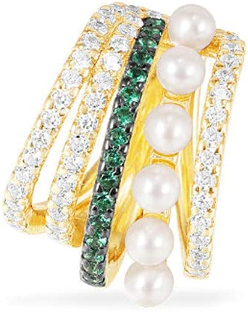 Pearl Ear Cuff for Women 14K Gold Paleted Cubic Zircon Clip for Non Pierced Ears Cartilage Earrings