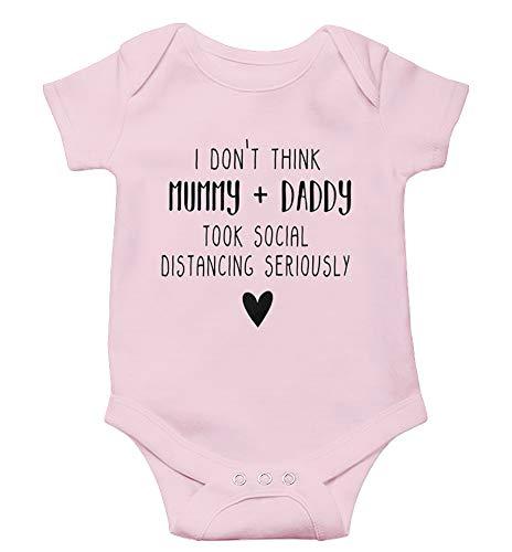 Esobo Newborn Baby Unisex Short Sleeve Cotton Bodysuits Funny Quarantine Onesies Baby Announcement Gowns Pink