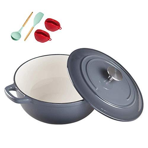 POETRY Casserole en Fonte émaillée Dutch Oven Casserole en Fonte avec Couvercle Ustensiles de Cuisine en émail antiadhésif Crock Pot pour la préparation de Repas à Cuisson Lente et Lente