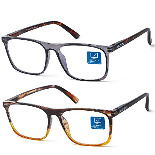 K Kenzhou Blue Light Blocking Computer Gaming Glasses 2 Pack Anti Glare Eyestrain Unisex/Men/Women Glasses with Spring Hinges UV Protection…