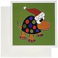 3drose面白いカラフルSpotted Turtleサンタの帽子クリスマスアートグリーティングカード、セットの6(GC 200597_ 1)