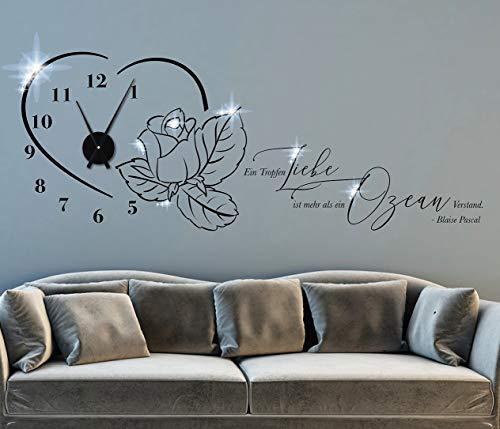 tjapalo® pkm503 Wohnzimmer Wanduhr Wandspruch Zitate Blaise Pascal Ein Tropfen Liebe ist mehr als ein Ozean Verstand Wandtattoo Uhrwerk, Größe: B100xH39cm (+Uhrwerk schwarz), Farbe: schwarz