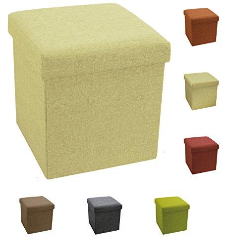 Tata Home Pouf Puff Contenitore Scatola Cubo Poggiapiedi Sgabello in Poliestere Misura 38 x 38 x 38 cm Colore Beige