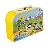 Bieco Kinderkoffer mit Tiermotiv, Koffer aus Pappe, Metall Tragegriff, Köfferchen für Kinder, Kindergepäck, 21x30 cm, gelb, 04003023