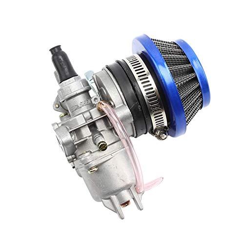 Carburador de acero 44 mm filtro de aire rojo azul pila para 47 cc 49 cc Mini Moto Dirt Pocket Bike ATV Quad Go Kart Buggy Carburador (Color: A) Carburador reemplaza (Color: B)