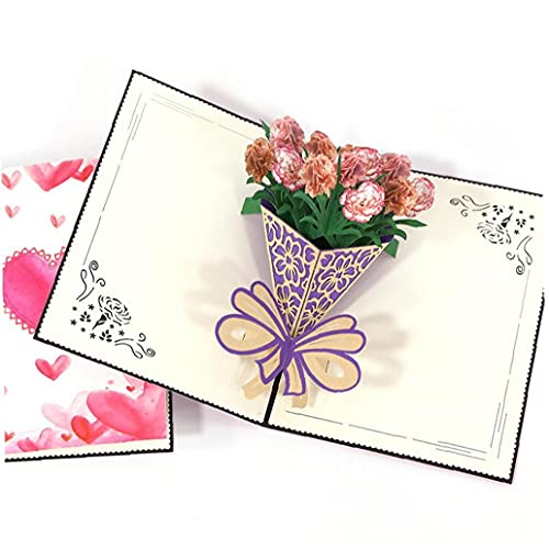 TOPofly Mothers Day Greeting Card 3D Pop Up Greeting Card Carnation Bouquet Gifts Gifts Card Appreciation Card for Mothers Day Anniversary