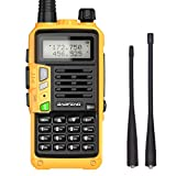 Baofeng S9PLUS Tri-Band Radio with 2200mAh Large Battery,Includes Antenna, 220 Antenna, Earpiece, and More Amateur (Ham) Two-Way Radio (Yellow)