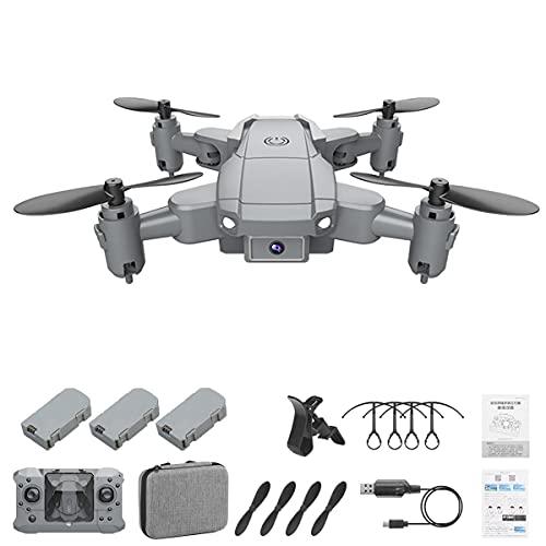 Greatangle-UK KY905 Mini Drone con videocamera 4K Pieghevole 4CH 6 Assi Droni Quadcopter FPV Follow Me RC Quadrocopter Giocattoli per Bambini Grigio 3 * batterie