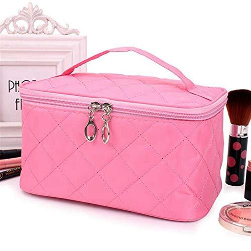 JSJJAUJ Bolso de Cosméticos Mujeres Viajes Cosméticos Bolsas Diamante Lattice Cremallera Hombres Maquillaje Bolsas Organizador Belleza Bolsa Bolsa Baño Baño Lavado Maquillaje Kits Caja