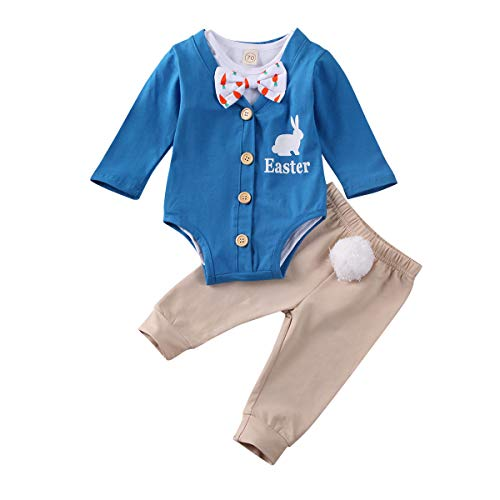 Baby Jungen 3 STÜCKE Ostern Kaninchen Kleidung Sets Solide Strampler Button Down Cardigan Body und Hosen Outfits (Blau, 12-18 Monate)