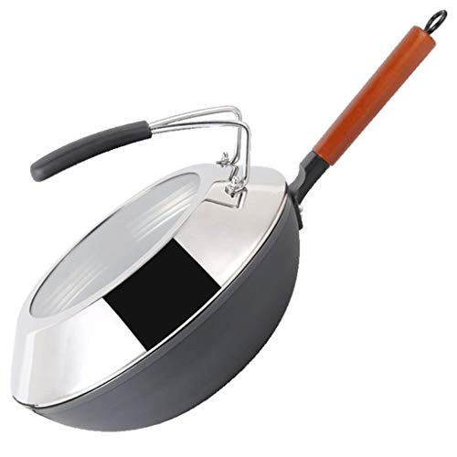 JU FU Pan, Pan hogar, sartén, Wok, sin Recubrimiento de Acero Inoxidable Wok, Cocina de inducción, Cocina de Gas, Universal Menaje de Cocina @@ (Size : 30x30x25cm)