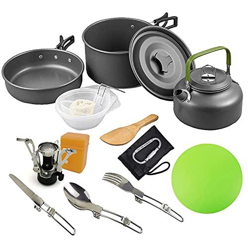 Queta 13 Piezas Cookware Kit Picnic Ollas y Sartén de Acampada Hornillo Camping Hervidor Acampada Kit de Utensilios Cocina Camping 2-3 Personas para Outdoor Senderismo Picnic BBQ y Viaje