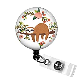 Adorable SLOTH Retractable Name Badge Holder