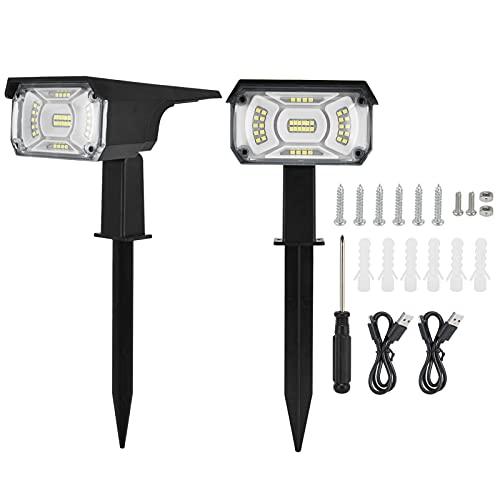 LIKJ Lámpara Solar, Luces solares USB para Exteriores, Luces de Paisaje Impermeables, 2 uds.