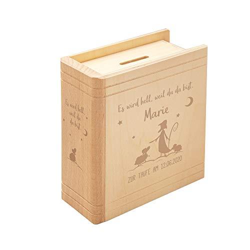 Casa Vivente Spardose mit Gravur zur Taufe, Motiv Hirte, Personalisiert mit Name und Datum, Sparbüchse aus Holz in Buch-Optik, Taufgeschenk