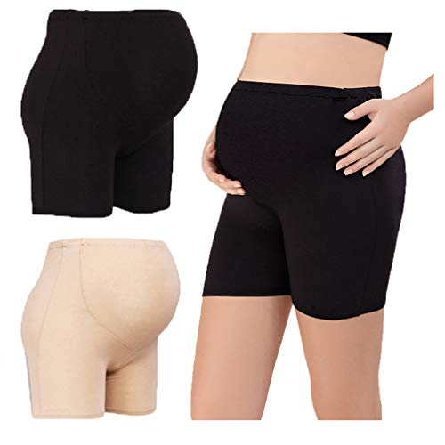 Maternity Knickers Pregnant Under Panties High Waist Stomach Lift Pants Corner Safety Pants Adjustable Anti-Light Boxer Briefs Over Bump Underwear Shorts 2 Pack