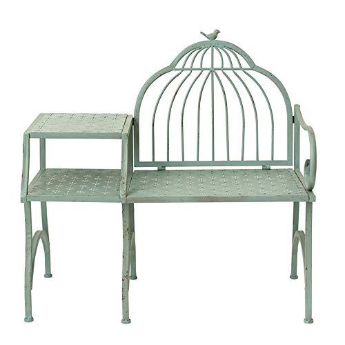 Sedia a sdraio da giardino con panchina da terrazza, Sedile retrò in ferro battuto con decoro da...
