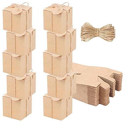 Belle Vous Cajas Kraft Marrón para Regalar (Pack de 100) 5 x 5 x 5 cm - Cajas de Carton para Regalo con Cuerda de Yute para Fiestas, Bodas, Cumpleaños, Manualidades y Propuestas – Fácil de Montar