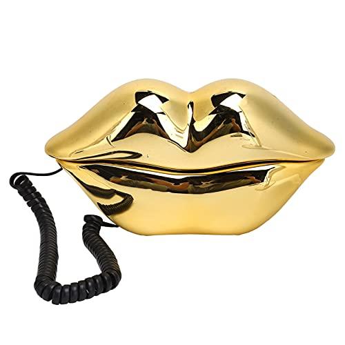 Teléfono, galvanoplastia Almacenamiento de números dorados Teléfono fijo de escritorio Teléfonos domésticos Estilo europeo para amigos o familiares para el hotel de oficina en casa