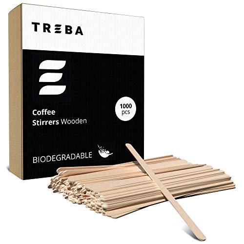 TREBA 1000 Palitos de Madera para Café para Revolver el Azúcar - Agitadores Desechables Biodegradables 140 mm – Pajuelas Naturales Ecológicas para Encender el Fuego