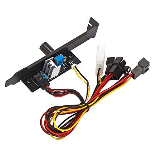 Baoblaze Controlador De Velocidad del Ventilador De Enfriamiento 3 Canales 3pin PC 12V Power PCI Bracket
