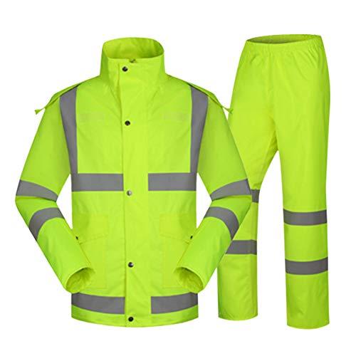 Meijunter Der Verkehr Reflektierend Regenanzug - Freiwillige Straße Steuerung Wasserdicht Arbeitskleidung Motorrad Poncho Arbeit Schützend Regenbekleidung