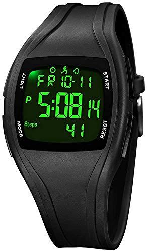 TEZER Digital Armbanduhr Digitaluhr Herren Damen Uhr Digital Sportuhr mit Stoppuhr/LED-Hintergrundbeleuchtung/Timer/Kalender wasserdichte Digitale Armbanduhr (Schwarz)