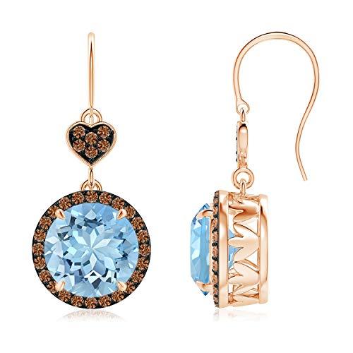 Orecchini pendenti con acquamarina e diamanti color caffè (9 mm acquamarina) e Oro rosa, cod. ANG-E-SE1043AQBRD-RG-AAAA-9