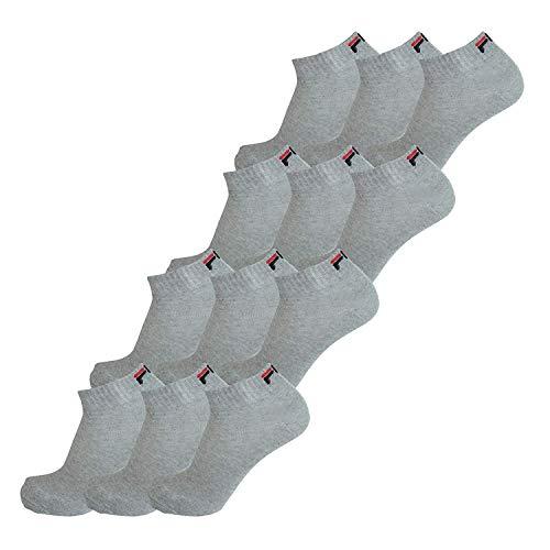 FILA® 12 Paar Socken, Quarter Sneakers, Unisex (35-38; 39-42; 43-46) (43-46 (9-11 UK), Grau)