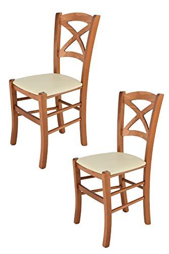 Tommychairs - Set 2 sillas Cross para Cocina y Comedor, Estructura en Madera de Haya Color Cerezo y Asiento tapizado en Polipiel Color Marfil