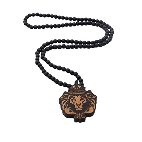 POHOVE Jewelry Lion Wooden Necklace Wooden Bead Choker,Lion Head Wood Pendant Animal Pendant Long Chain For Hip Hop Punk Clothing Accessories Charm Daily