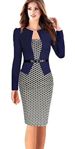 Babyonline Lady Long Sleeve OL Casual Career Pencil Dress Party Dresses, X-Large, Small Houndstoothl