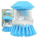The Kosher Cook Dairy Blue Sud-Zee Scrub Brush with Liquid Dish Soap Dispenser –Scouring Sponge Bristles with Ergonomic Handle - Color Coded Kitchen Tools