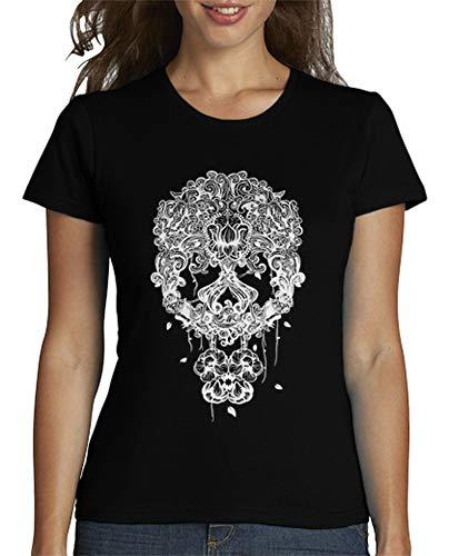 latostadora - Camiseta Calavera Mexicana Blanco para Mujer Negro M