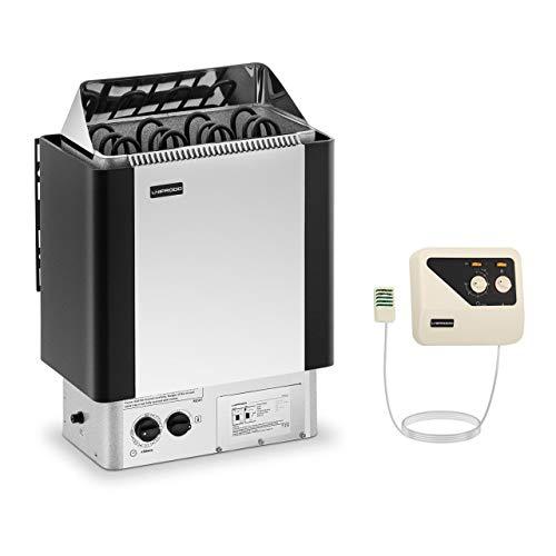 Uniprodo UNI_SAUNA_S6.0KW-SET Set Saunaofen mit externer Steuerung 6 kW 30 bis 110 °C