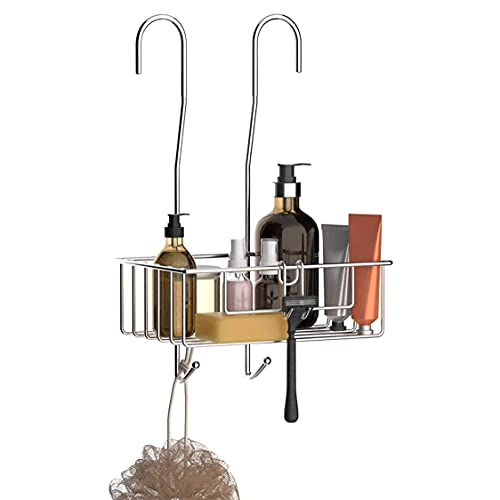 Estantería Baño Acero Inoxidable – Organizador Baño Colgante con Ganchos – Estanterías para Accesorios Baño Recubiertas de Silicona para Disminuir Ruido (40 x 25 x 13 cm)