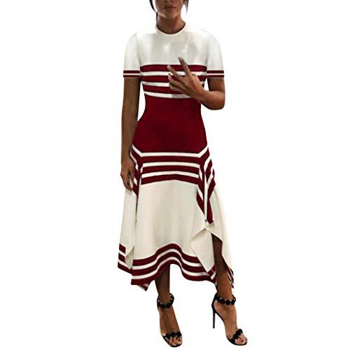 ReooLy Vestido Informal sin Mangas con Rayas de Las Mujeres Vestido con Cuello Redondo y Vestidos de Fiesta Midi